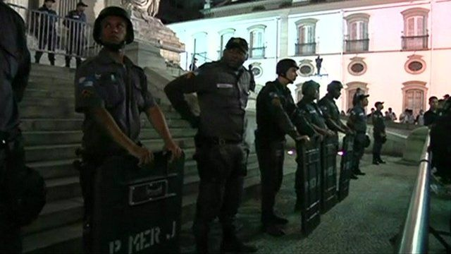 Police outside Sao Paulo Cathedral