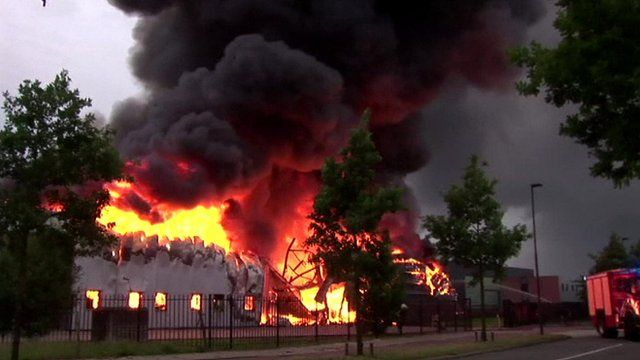 A fire in a firelighter factory, Oisterwijk