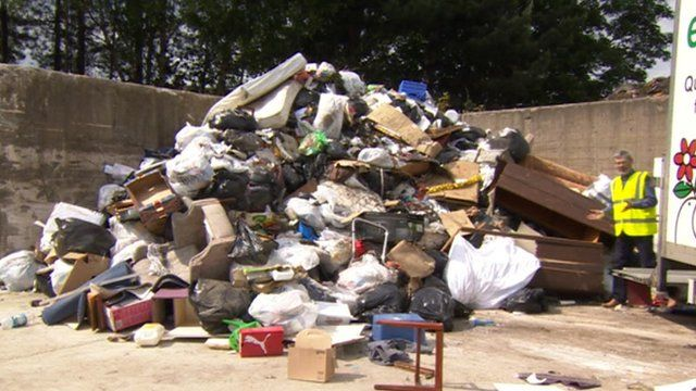 Rubbish piled high after collection