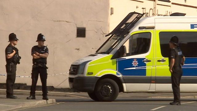 Police at the scene of the bomb hoax in Clay Cross