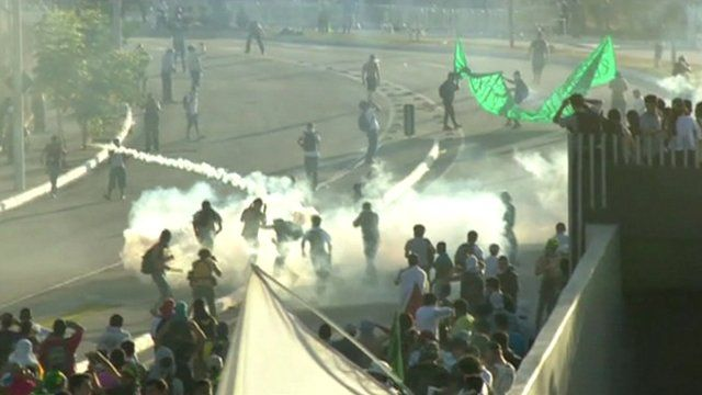 Tear gas at the protests