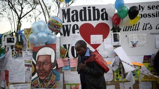 Get well and tribute messages for Mandela outside his hospital