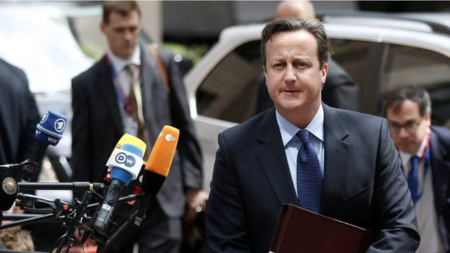 David Cameron arrives at a EU summit in Brussels 27 June 2013