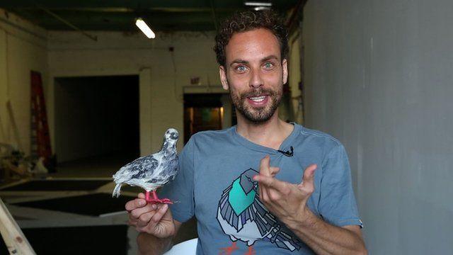 Bram Esser with pigeon