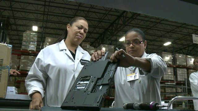 Workers at the new Lenovo manufacturing plant in Whitsett, North Carolina