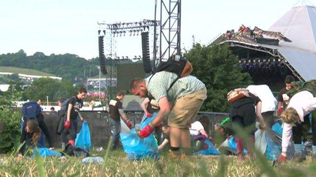 Glastonbury litter pickers