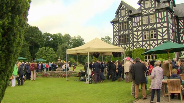 Antiques Roadshow being filmed at Gregynog Hall in Powys