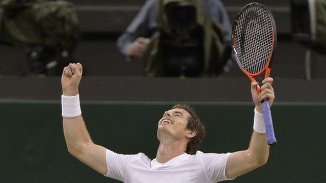 Andy Murray celebrating his win at the Wimbledon semi-final 2013.