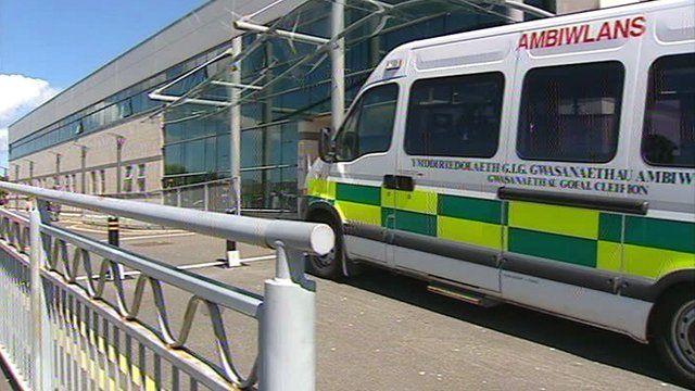 An ambulance at Ysbyty Gwynedd