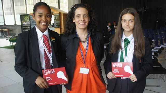 School Reporters Jola and Stacianne with Kerry Smith