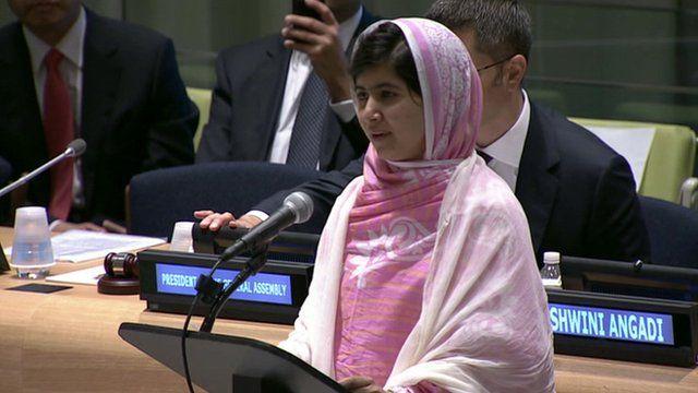 Malala Yousafzai addresses the UN