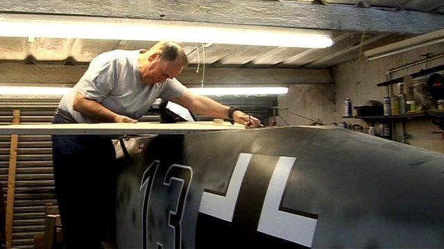 Stan Howes making a replica aeroplane