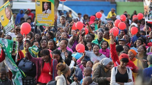 People celebrating outside the hospital in Pretoria