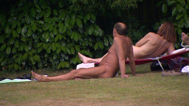 British naturists sunbathing