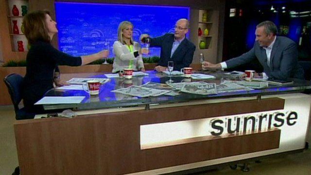 News team on Australia's sunrise programme