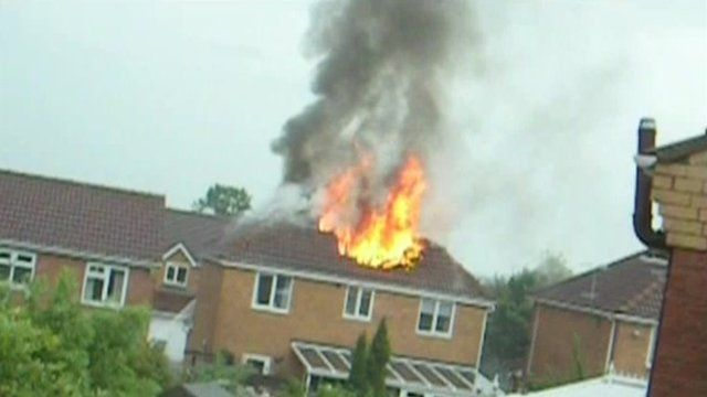 House on fire in Heanor, Derbyshire