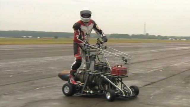 Matt McKeown's jet-powered shopping trolley