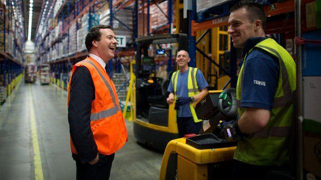 George Osborne and Tesco workers