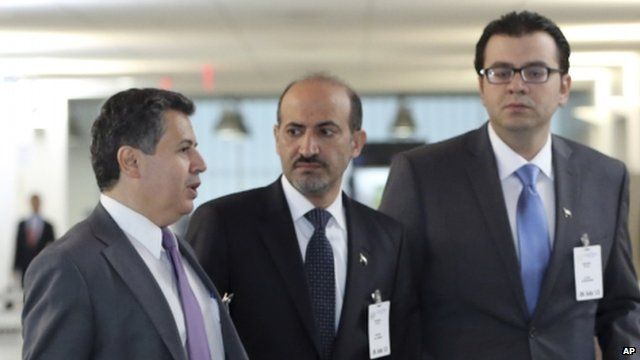 Syrian opposition leader Ahmad Jarba (c) at the UN