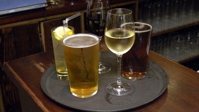 Tray of alcoholic drinks