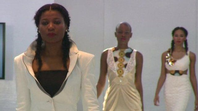 Models on catwalk at Africa Fashion Week in London