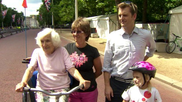 Four generations of the Tingle family, who are taking part in the cycle event
