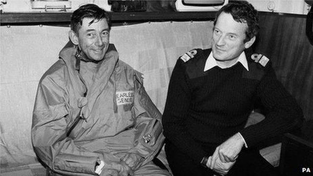 The Task Force commanders together aboard the flagship, HMS Hermes, during the Falklands campaign. Left is Major-General Jeremy Moore, commander of the Falkland Islands Land Forces, and right is Rear Admiral Sandy Woodward, overall commander of the Task Force