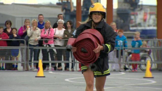 Fire fighter taking part in the contest