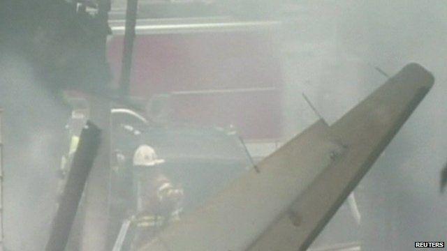 The crash scene in New Haven
