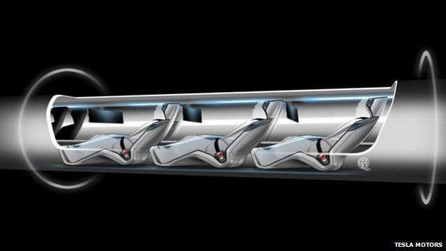 """Handout sketch of the proposed """"Hyperloop"""" system"""