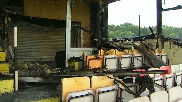 The damaged stand at Maesteg RFC