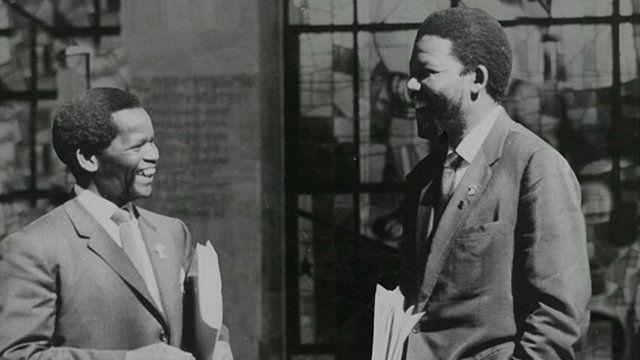 Oliver Tambo and Nelson Mandela outside Africa Hall, Addis Ababa, Ethiopia, 1962
