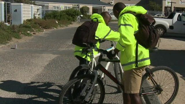 Men with bikes in South Africa