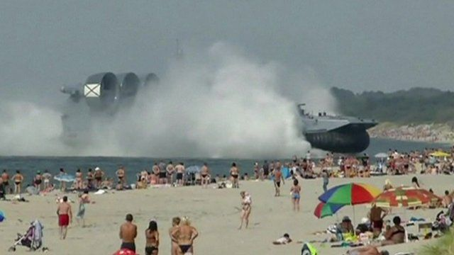 Hovercraft heads for Russian beach