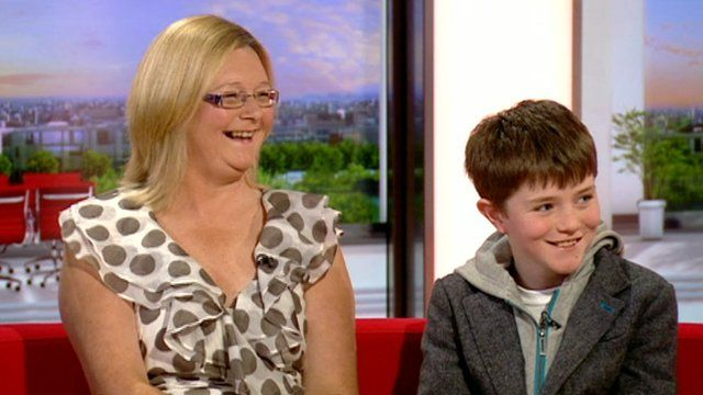 Anne Quinn with the youngest of her seven children, 11-year-old David