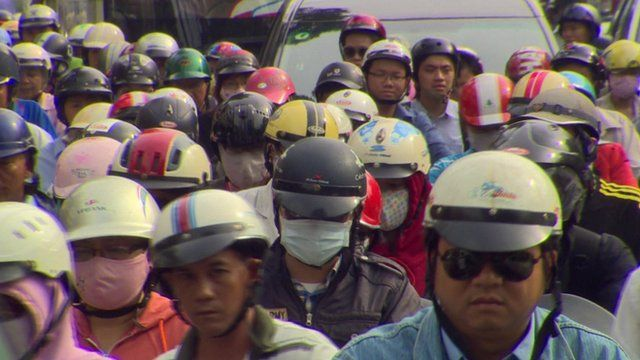 People on motorbikes in Vietnam