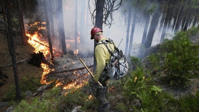 A fire fighter monitors a fire near Yosemite National Park