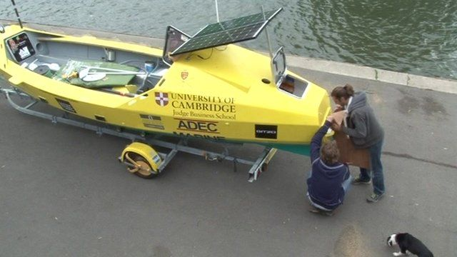 Preparing the boat to row the Amazon