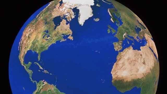 World map on globe