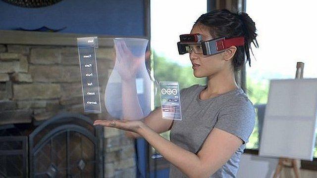 Woman using 3D specs