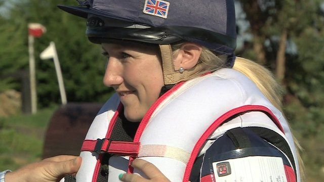 Eventer Laura Collett tries out an air jacket