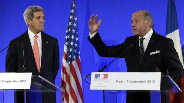 Secretary of State John Kerry and French Foreign Minister Laurent Fabius hold a news conference at the Ministry of Foreign Affairs in Paris,