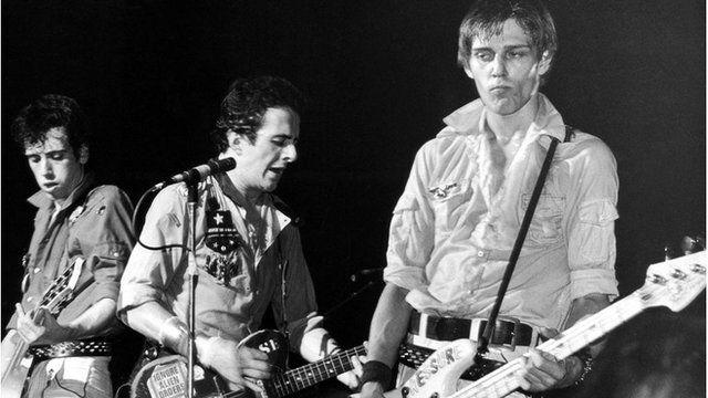 Mick Jones, Joe Strummer and Paul Simonon of punk rock band The Clash, circa 1980