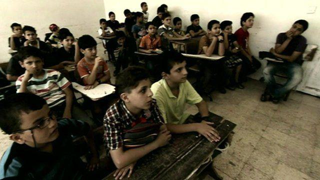 Syrian children in class