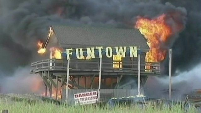 New Jersey shore boardwalk on fire