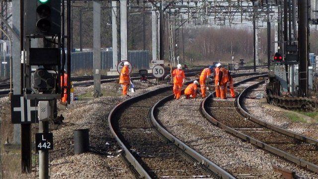 Maintenance work on a railway line