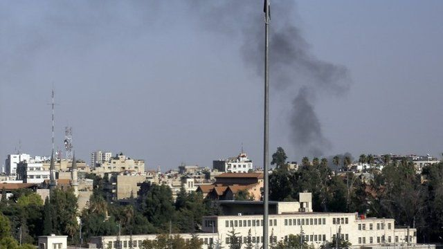Smoke rises from the site of heavy shelling in the Jobar neighbourhood of Damascus