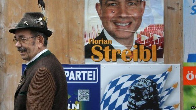 Man in traditional Bavarian costume passing election posters