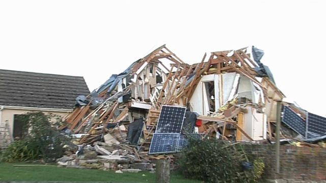 Exploded house in Ceredigion