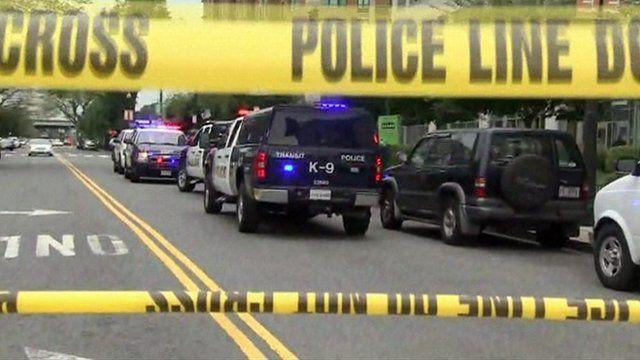 Police sign at Washington shooting scene